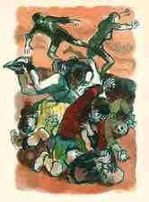 JUGENDLICHE MASSENSCHLÄGEREI - Lucien FONTANAROSA - OriginalFarbholzschnitt 1969