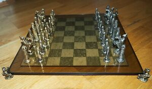 Antique Historic Chess Set with 22ct Gold Plated Pieces.