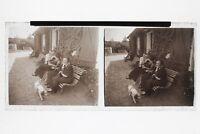 Fotografia Famille N2 Placca Stereo 6x13cm Vintage