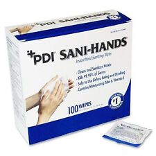 "PDI Sani-Hands Instant Hand Sanitizing Wipes Individual Packets 5"" x 8"": Box 100"