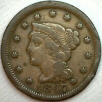 1847 Braided Hair Large US Cent Coin 1c Copper US Penny Circulated Fine