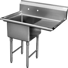 """Ace 1 Compartment Stainless Steel Sink 24""""x24"""" w/ Right Drainboard Etl Sh24241R"""