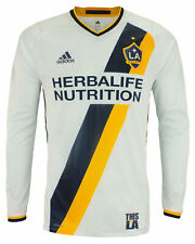 adidas MLS Men's Los Angeles Galaxy Authentic Long Sleeve Jersey, White