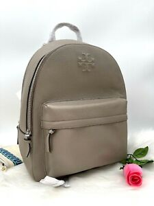 NWT Tory Burch Women's Thea Logo Large Pebbled Leather Backpack In French Gray