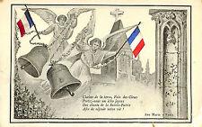 CARTE POSTALE RELIGION & PATRIE, DRAPEAUX  EN TISSU COLLéS CLOCHES BELLS