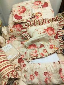 10 pcs Waverly Garden Room Norfolk Rose Full Size Comforter Set With Extras