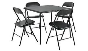 Quin Metal Folding Table & 4 Folding Chairs - Black