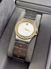 Movado Mother of Pearl 18k Gold Diamond SE Stainless Watch 85.A1.816.2 w/ Box