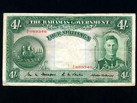 Bahamas:P-9b,4 Shillings,1936 * King George VI * Nice VF ! *