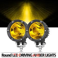 2x 4 Cree Round Led Fog Amber Lights Hyper Spot Bumper Driving Pod Bar Off Road