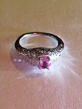 Stunning Vintage 10K White Gold Pink Sapphire Ring