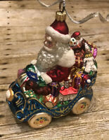 Christopher Radko Santa Claus Christmas Ornament Car with Presents Used