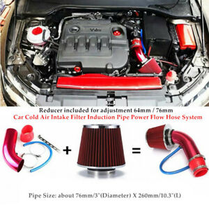 Car Cold Air Intake Filter Induction Kits Pipe Power Flow Hose System 64/76mm