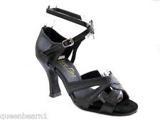 1658 Black Leather Swing Ballroom Salsa Mambo Latin Dance Shoes heel 3 Size 8