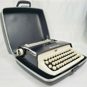VTG 1960s Smith-Corona Galaxie Typewriter w/ Case ☆ Black & Ivory ☆ Outstanding