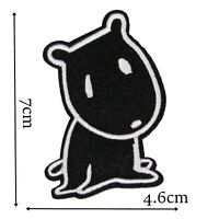 Dog Character Iron On Patch Motif Badge Decoration Kids Childrens Fun Black P480