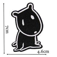 Dog Character Iron On Patch Motif Badge Decoration Kids Childrens Fun Black P480