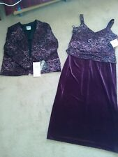 Dress 2 piece Plum velvet and glitter formal R & M Richards size 12 Petite NEW