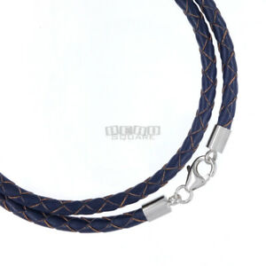 Sterling Silver 4mm Braided Genuine Leather Cord Necklace/Bracelet Lobster Clasp