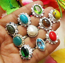 10Pcs Ring Pearl, Blue Topaz, Peridot & Mix Gemstone Silver Plated Sz 6 to 9.5""
