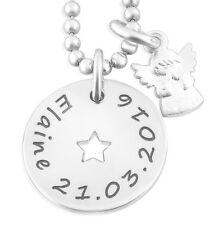 Silberkette mit Stern, Engel Anhänger, Taufschmuck mit Gravur