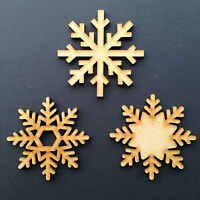 Wooden Snowflake Christmas Tree Decorations Craft Shape Blank Hanging Bauble