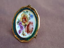 Vintage Tiny Limoges France Mini Hand Painted Plate W Display Stand 1 3/4 Inches