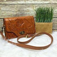 Artisan Brown Leather Floral Embossed Hand Tooled Boho Purse Shoulder Bag