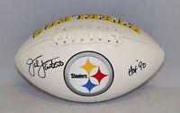 Jack Lambert Autographed Pittsburgh Steelers Logo Football W/ HOF- JSA W Auth