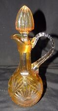 RARE Yellow Cut to Clear Pitcher with Stopper~beautifully Cut applied handle