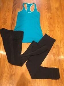 Womens Small Athleta & Prana Leggings 7 Lululemon Blue Tank EUC
