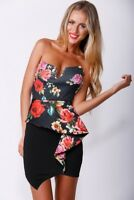 Sexy Black Strapless Floral Bandeau  Frill Dress Party Bodycon Size 10 & 12