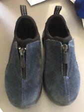 LANDS END Boys Navy Blue Suede Zip Slip On Shoes Kids size 11 toddler mocs
