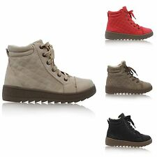 NEW LADIES WOMEN FAUX FUR LINED LACE UP QUILTED WINTER SNOW ANKLE BOOTS SIZE 3-8