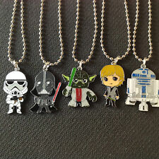 SET OF 5 CARTOON SUPER HEROS CHARM PENDANT NECKLACES YODA SKY WALKER R2 ETC