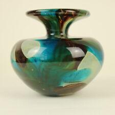 Mdina Maltese 'Tiger' Blue & Brown Art Glass Signed Vase 12cm Tall