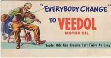 "Ink Blotter ~ Old Man Playing Fiddle ~ "" Everybody Change "" To VEEDOL Motor Oil"