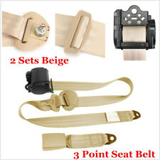 2x Beige Car Seat Belt 3 Point Safety Travel Adjustable Retractable Universal
