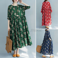 UK Womens Long Sleeve Pleated Flare Swing Printed Floral Cadual Loose Maxi Dress