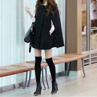 Wool Coat Cloak Women Loose Poncho Winter Warm Cape Parka Outwear Batwing Casual