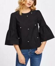 4abe68c9229f84 NEW Shein Pearl Embellished Trumpet Sleeve Keyhole Black Cotton Blouse,  Medium