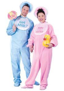 Big Baby Adult 3Pc Back Flap Footed Jammies Bonnet & Bib Comic Novelty Costume