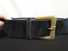 Venezia Black Elastic Gold Buckle Wide Womens Cinch Belt Size 14/16