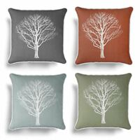"""Woodland Trees Cushion Cover Modern Reversible Tree Print Covers 17"""" x 17"""""""