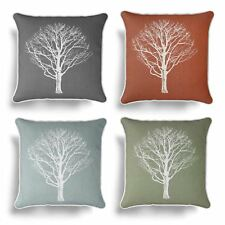 "Woodland Trees Cushion Cover Modern Reversible Tree Print Covers 17"" x 17"""