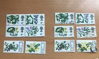 GB QE2 - Two full sets of British Wild Flowers 1967 - MNH* and USED