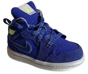 Toddler Nike Air Jordan 1 High Mid GG Deep Royal Blue Grey Wolf Size 4 4C EUC