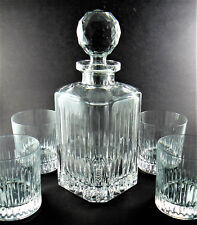 CRYSTAL GLASS WHISKEY DECANTER WITH 4 DOUBLE GLASSES MADE IN Czechoslovakia (LE)