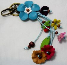 HANDMADE GENUINE LEATHER SKY BLUE KEYCHAIN FLOWER KEYRING BAG CHARM FLORAL PURSE