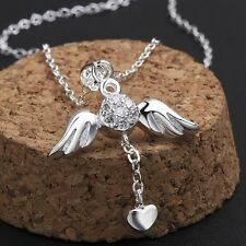 925 Silver Plated Angel Wing CZ Crystals Hanging Heart Necklace Free Gift Bag